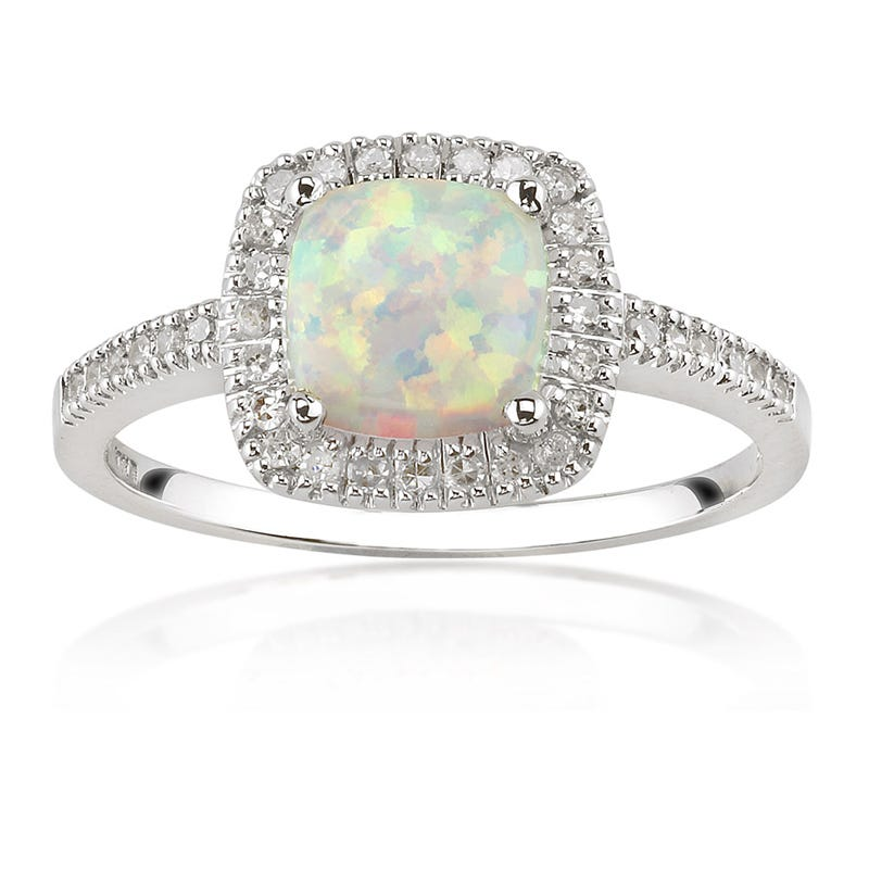 Created Opal & Diamond Halo Ring in 10k White Gold