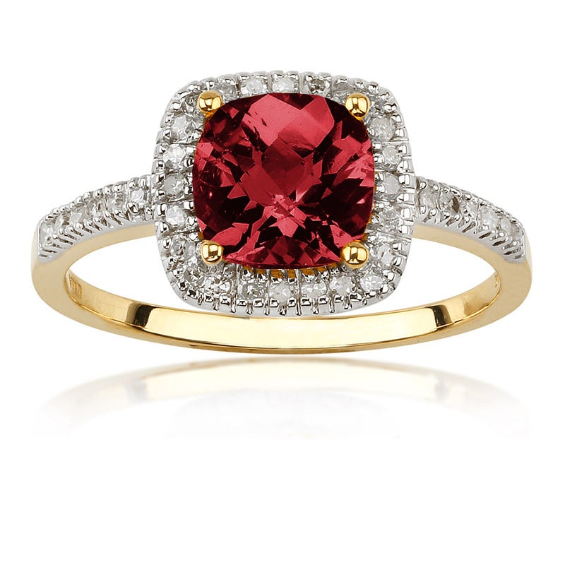 Garnet Gemstone Ring with Diamond Halo in 10K Yellow Gold