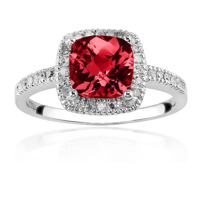 Created Ruby & Diamond Halo Ring in 10K White Gold