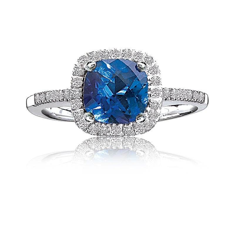 Sapphire Created & Diamond Halo in 10k White Gold