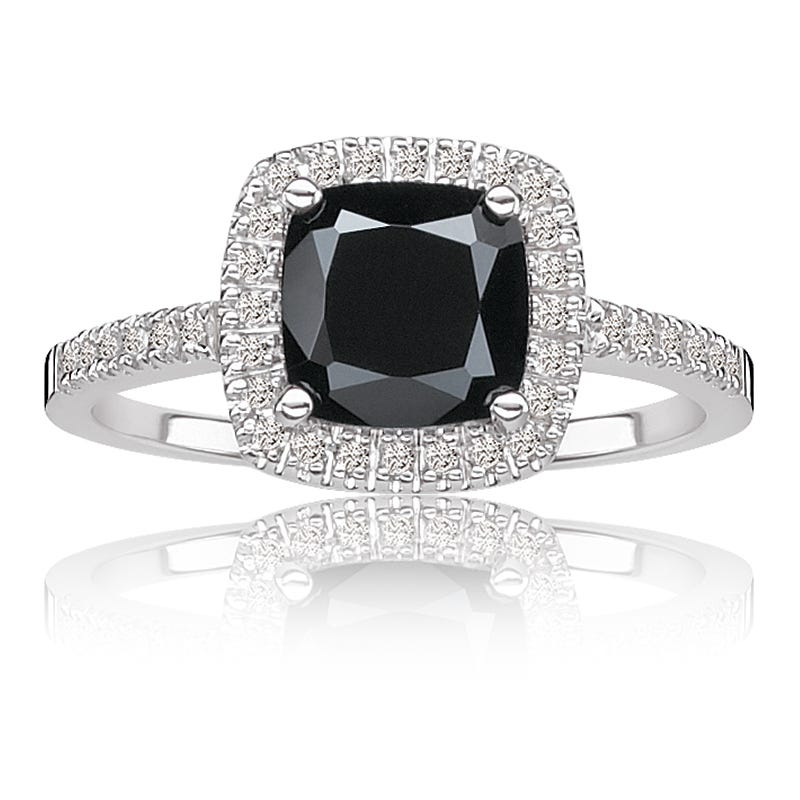 Black Onyx & Diamond Halo Ring in 10k White Gold