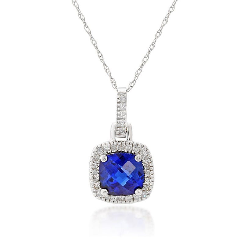 Blue Created Sapphire & Diamond Halo Pendant in 10k White Gold