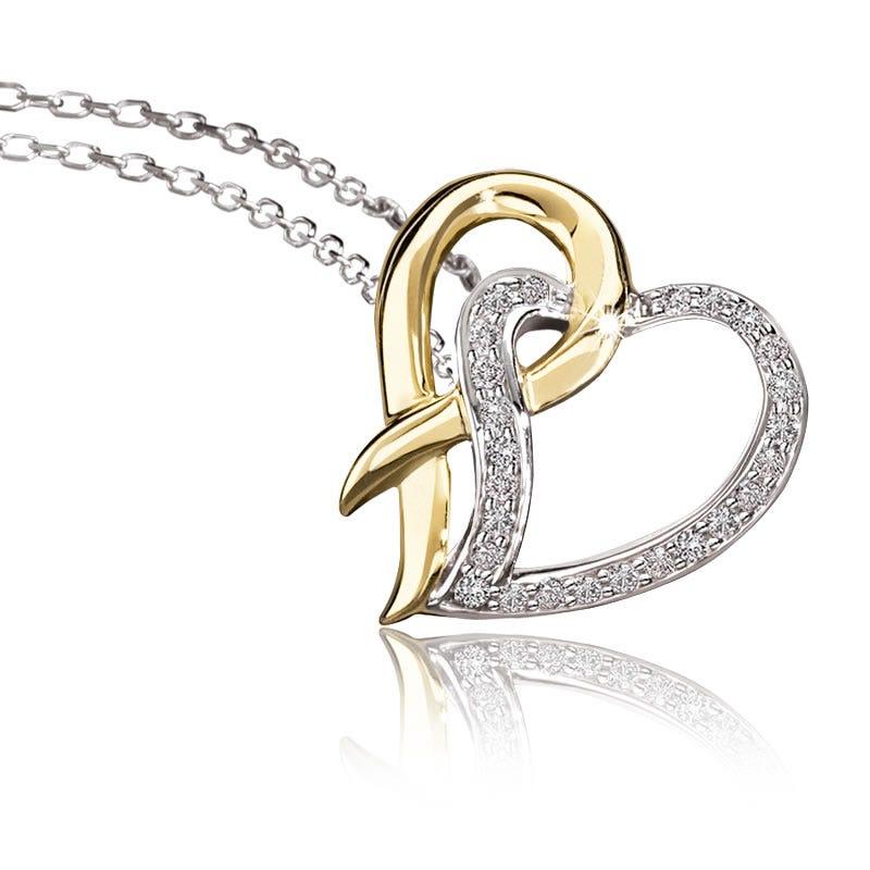 Ribbon Promise of Hope Heart Diamond Pendant in Sterling Silver