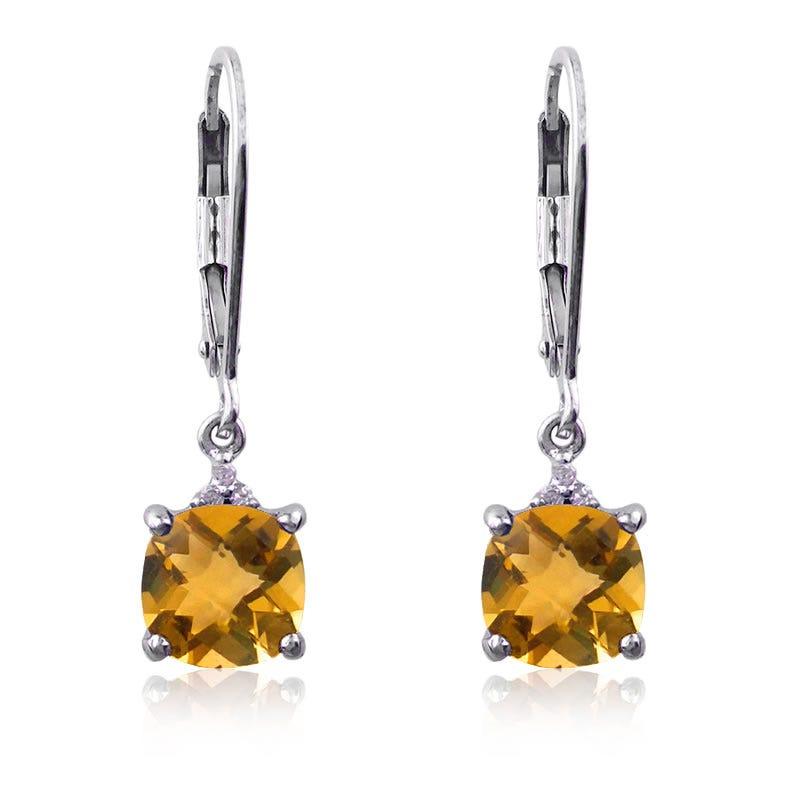 Citrine & Diamond Fashion Dangle Earrings in Sterling Silver