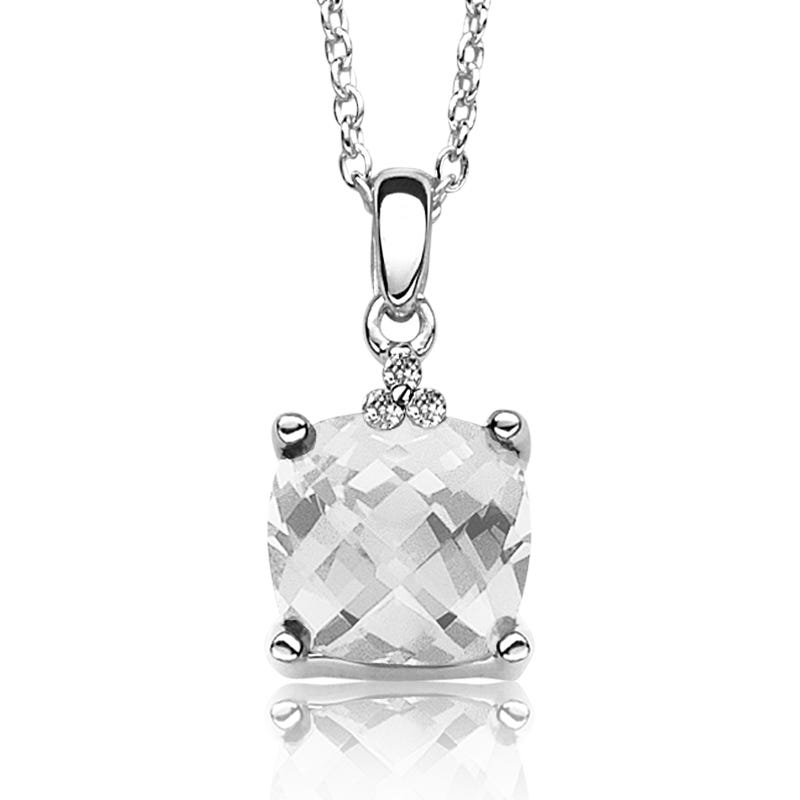 White Topaz Gemstone & Diamond Pendant