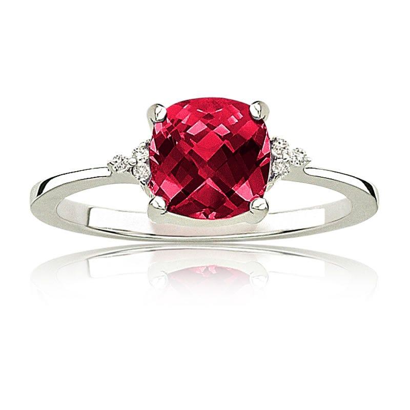 Red Ruby & Diamond Birthstone Ring