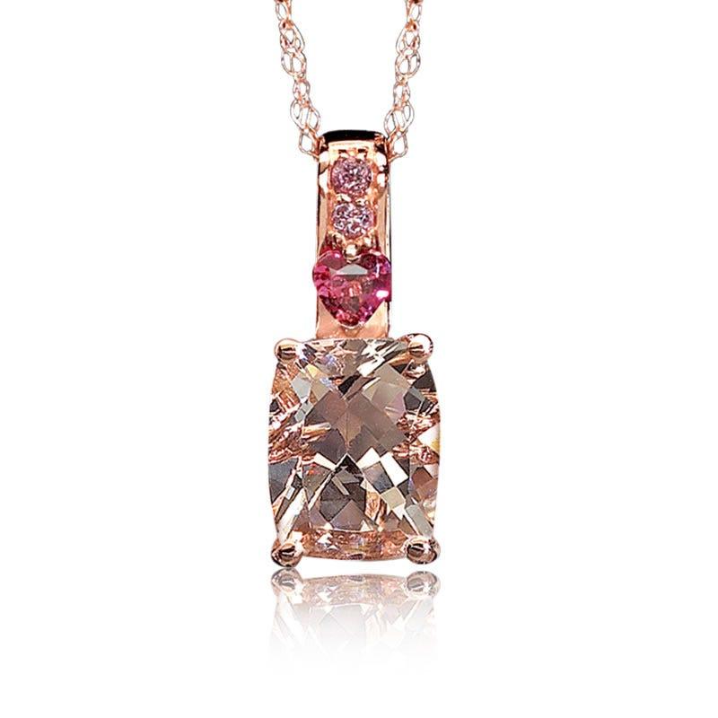 JK Crown® Morganite, Heart Brazilian Garnet & Pink Tourmaline Pendant