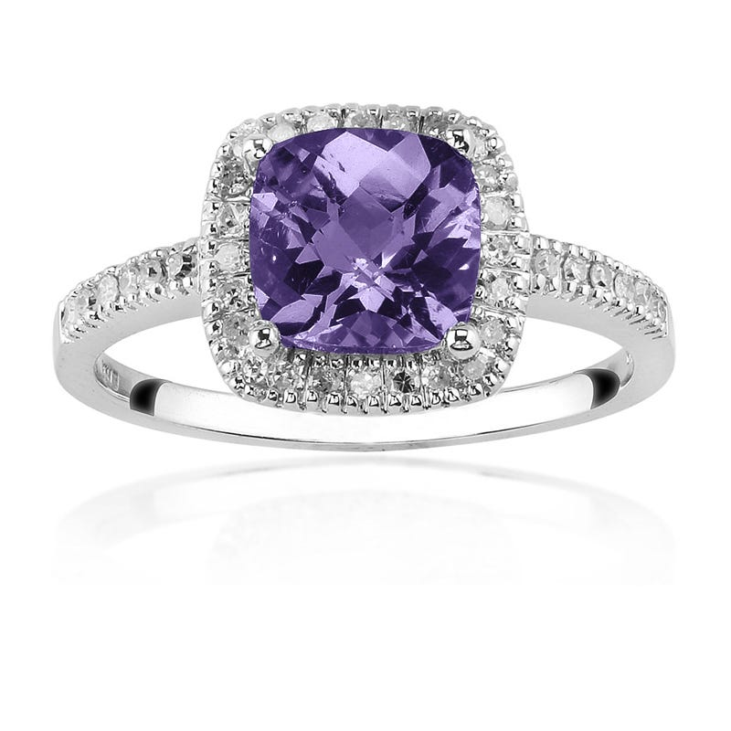 Purple Amethyst & Diamond Halo Ring in 10K White Gold
