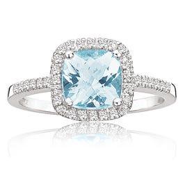 Aquamarine & Diamond Halo Ring in 10k White Gold