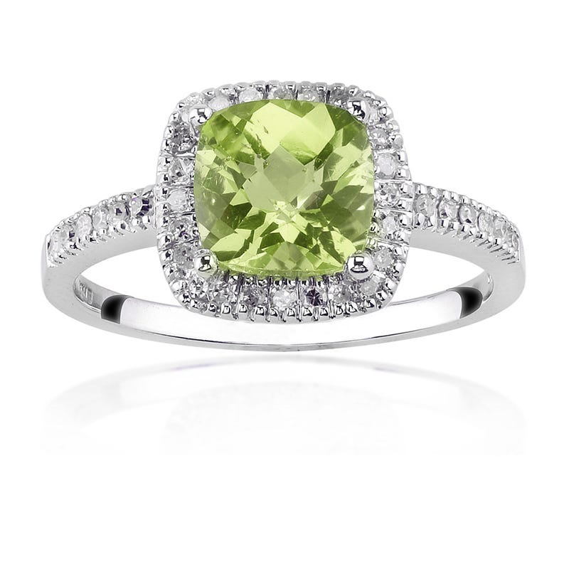 Peridot Gemstone Ring with Diamond Halo in 10K White Gold