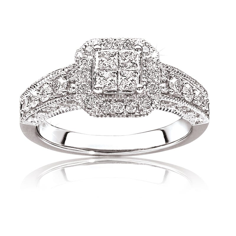 Soffia. 3/4ctw. Pavé Diamond Quad Set Engagement Ring 14k White Gold