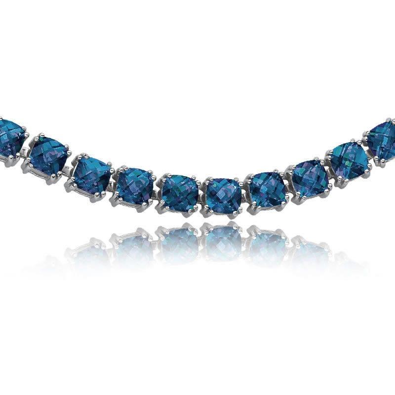 Cushion-Cut Created Sapphire Bracelet