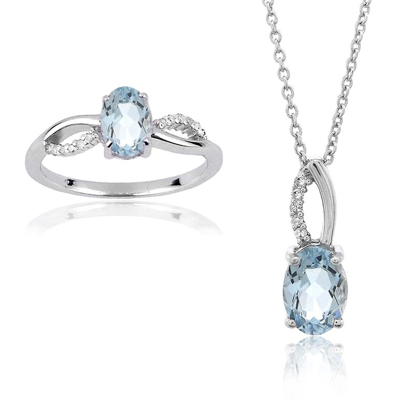 Aquamarine & Diamond Ring and Pendant Set