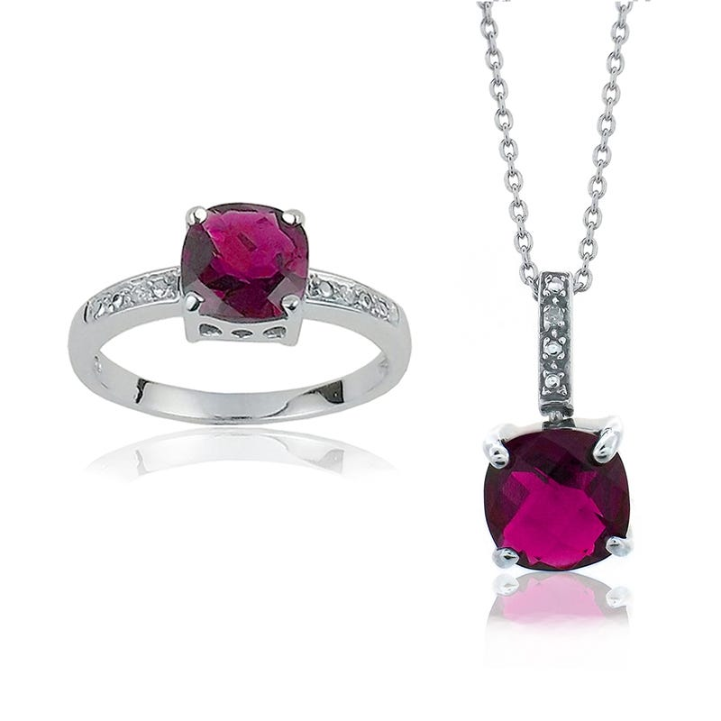 Created Red Ruby Gemstone Pendant & Ring in Sterling Silver