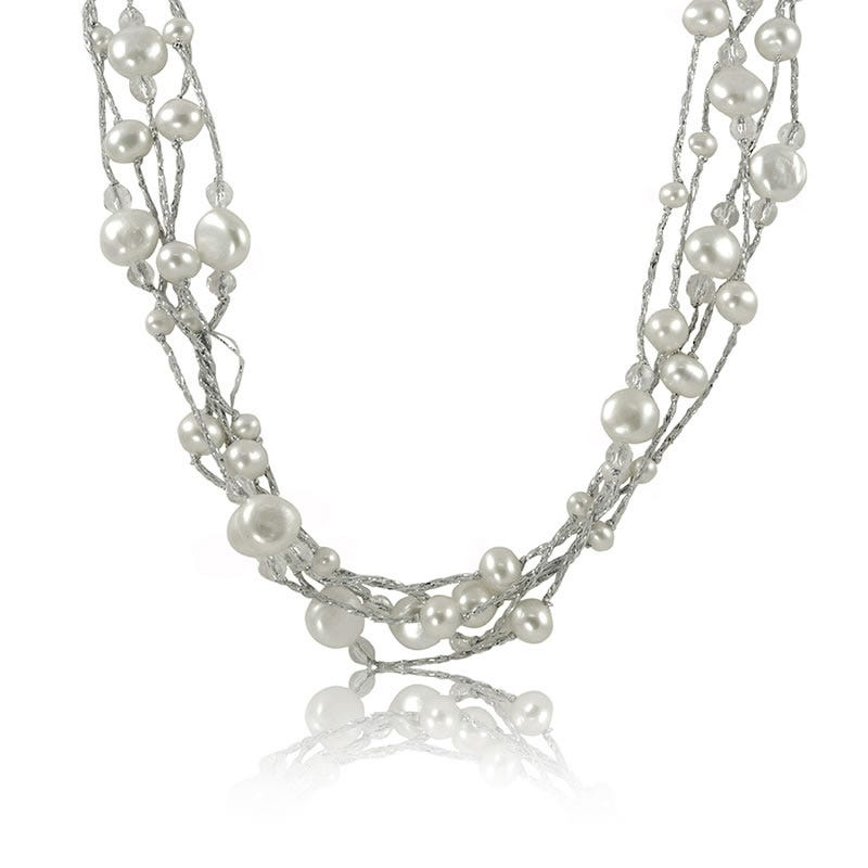 Freshwater Pearl & Clear Quartz Gem Multi-Strand Necklace