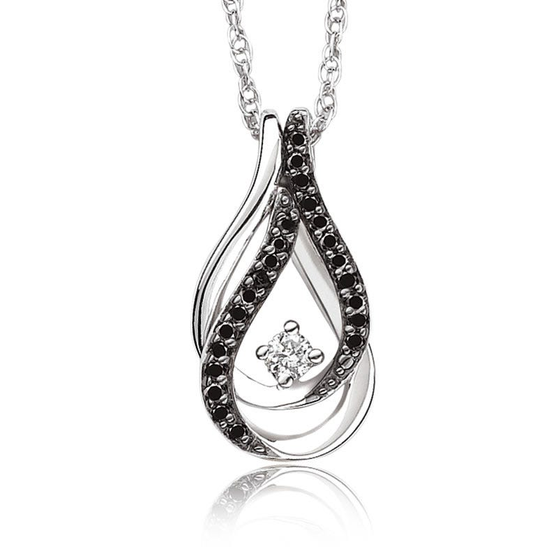 Black & White Diamond Double Loop Pendant in Sterling Silver