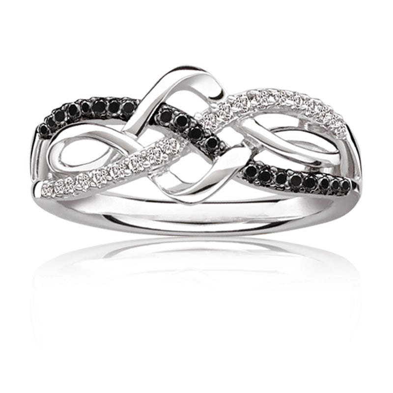 Black & White Diamond Crossover Ring 1/5ct. T.W.