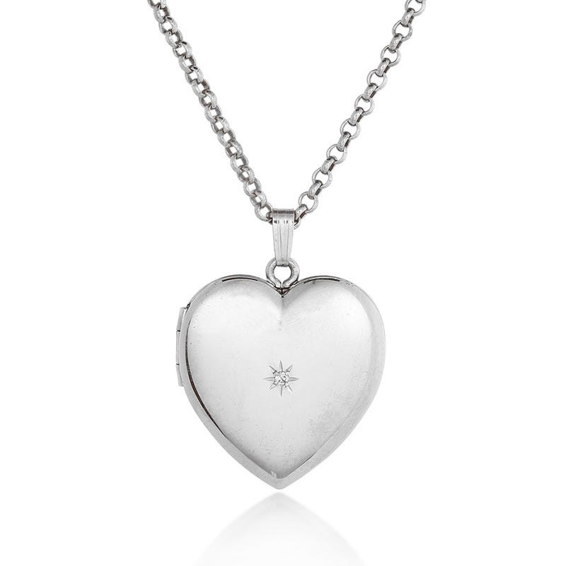 Diamond Heart Locket in Sterling Silver with 24