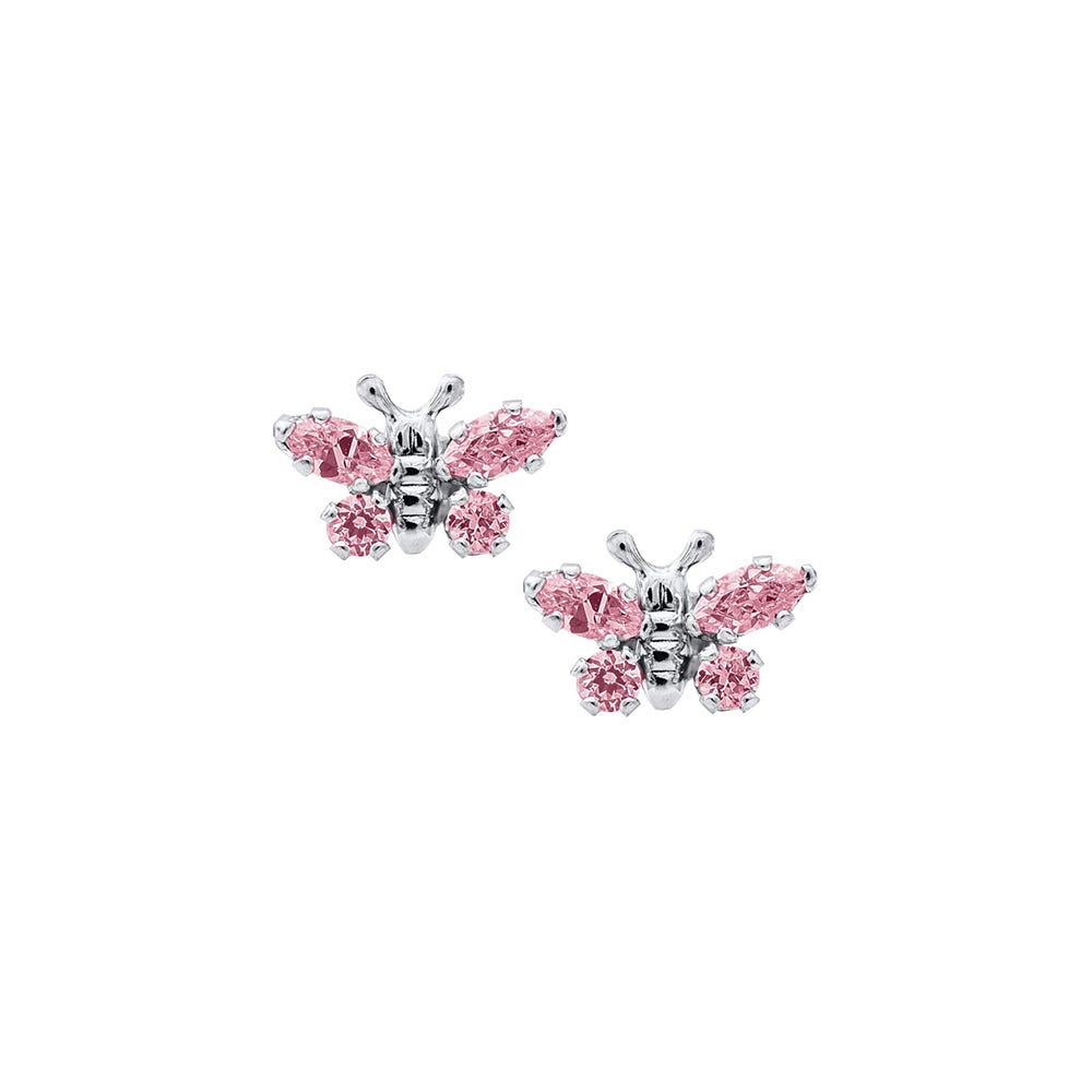 Butterfly Pink Crystal Baby Earrings in Sterling Silver