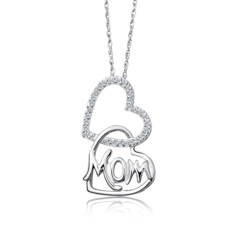 Mom Double Diamond Heart Pendant in Sterling Silver