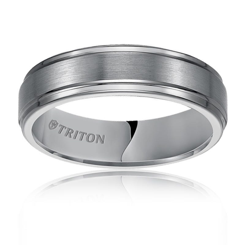 Triton White Tungsten Step Edge Wedding Band