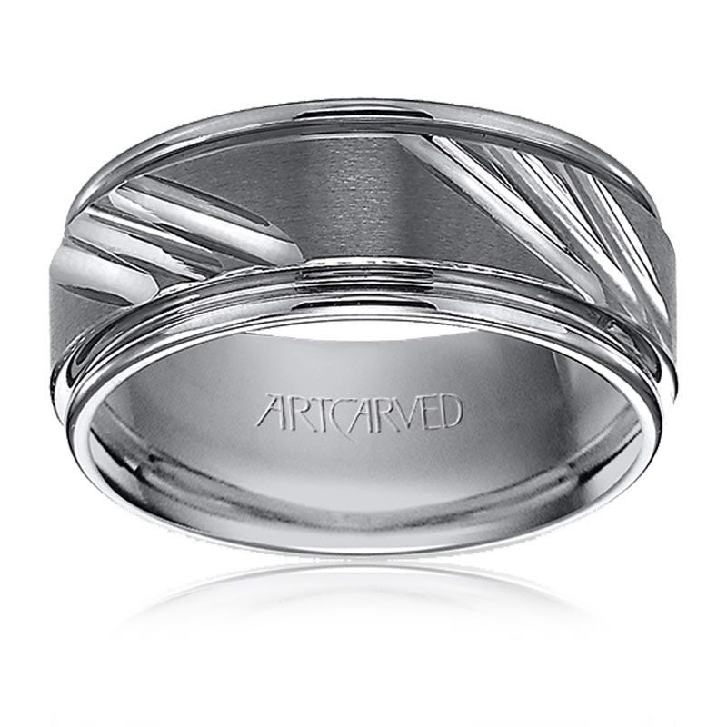 ArtCarved Men's Tungsten Triple Diamond-Cut Wedding Band