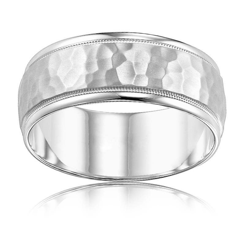 Men's 10K White Gold Hammered Band