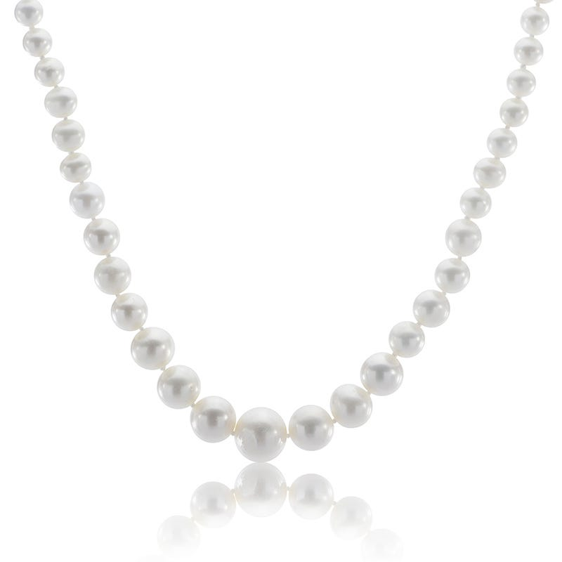 Freshwater Graduated Pearl Strand Necklace with 14k Gold Clasp