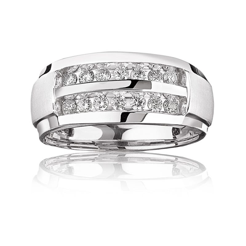 Men's Double Row 1ct. t.w. Diamond Band in 14k White Gold