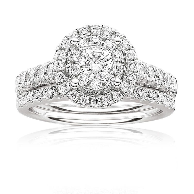 Serie 1ctw. Brilliant-Cut Pavé Diamond Halo Engagement Ring
