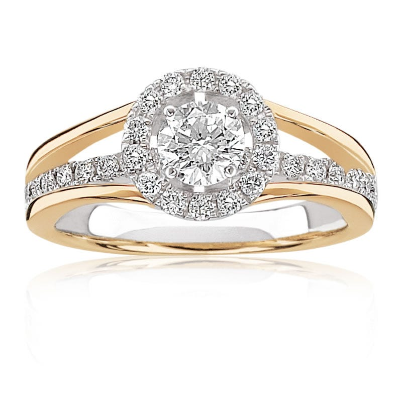 Spicy. 14K Gold Brilliant-Cut Diamond Halo Engagement Ring
