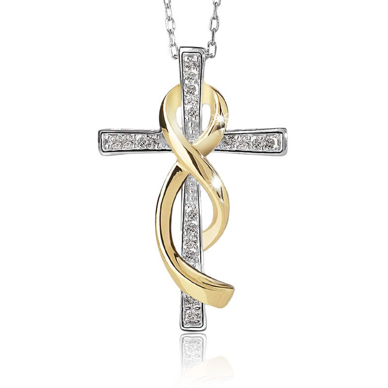 Promise of Hope Diamond Cross Ribbon Pendant