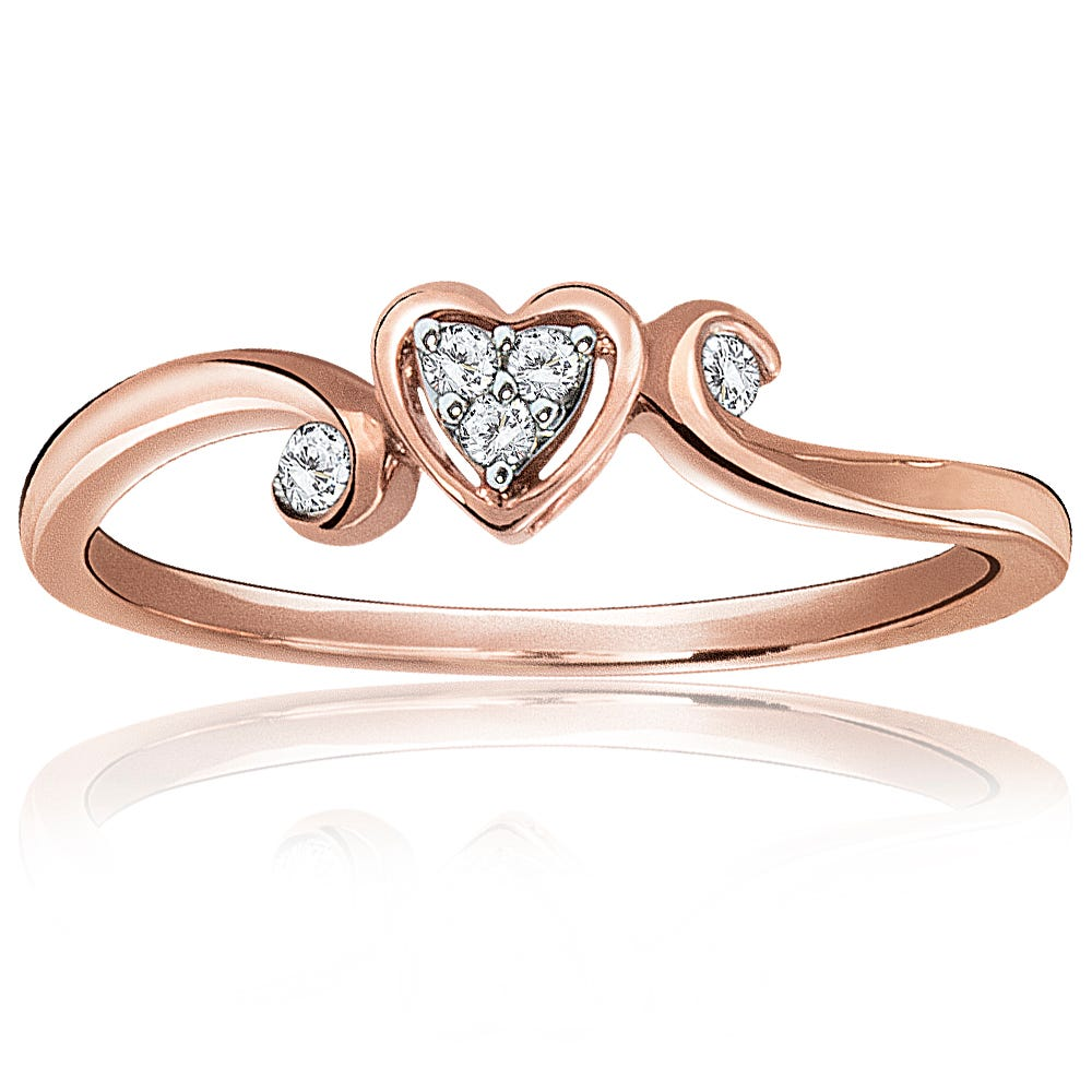 Diamond Cluster Heart Shape Promise Ring in 10K Rose Gold