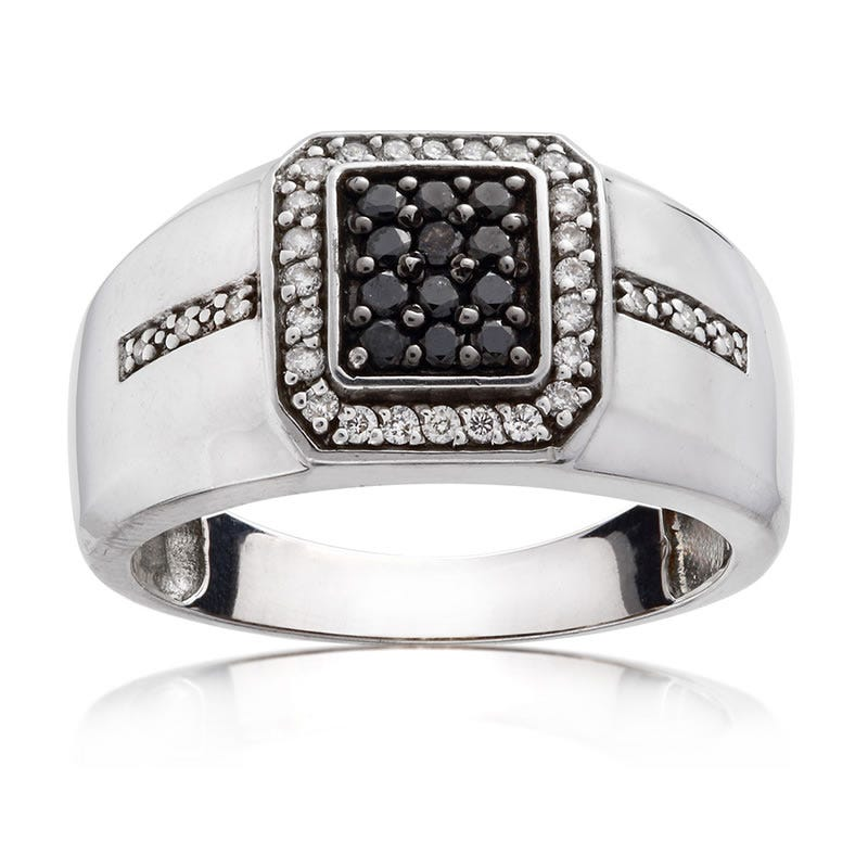 Men's Black & White Diamond Ring ½ ct. T.W.