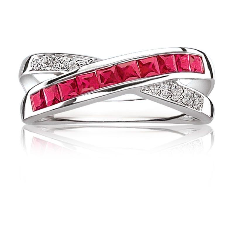 Red Ruby Gemstone Diamond Crossover Ring in 10K White Gold