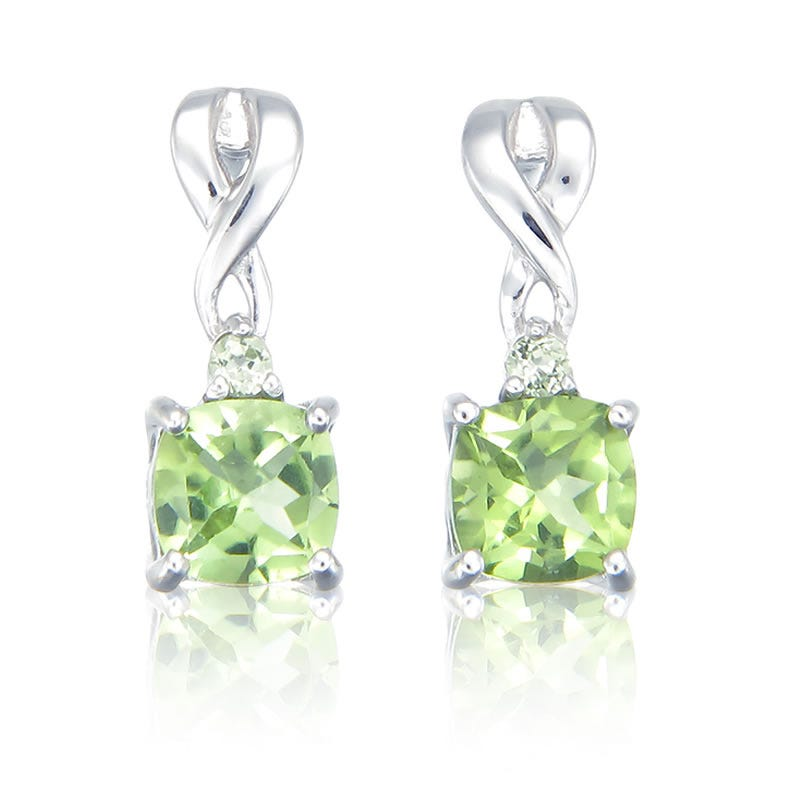 Peridot Cushion-Cut Drop Earrings in Sterling Silver