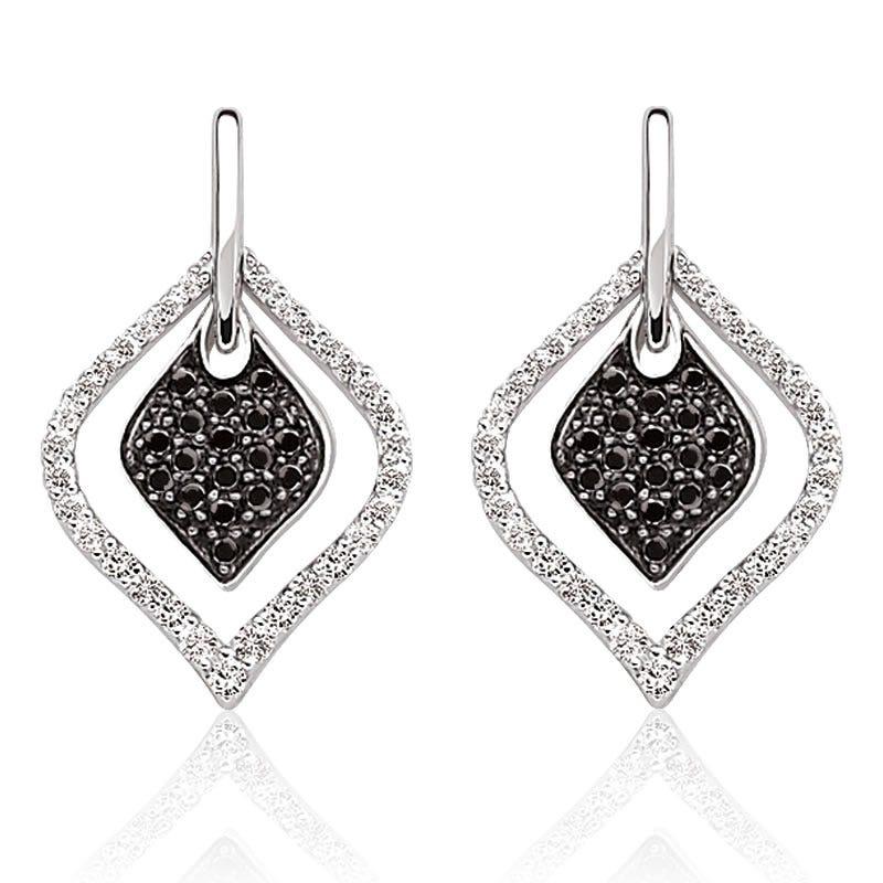 Black & White Double Dangle Earrings 5/8ct. T.W.