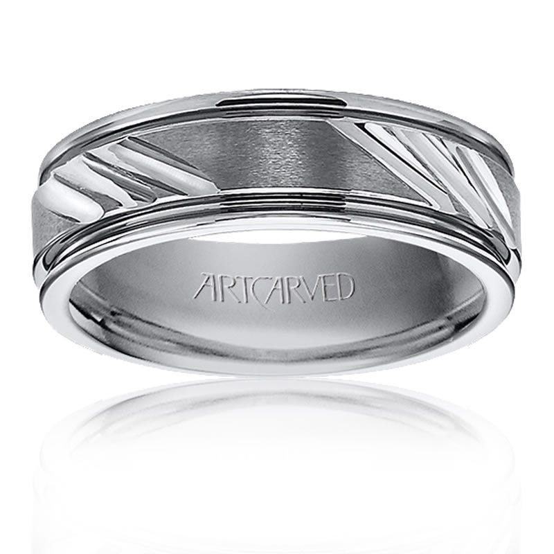 ArtCarved Men's Grey Tungsten Wedding Band
