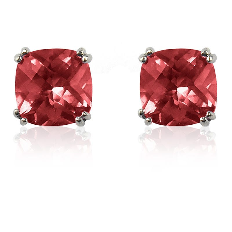 Garnet Cushion-Cut Stud Earrings in Sterling Silver