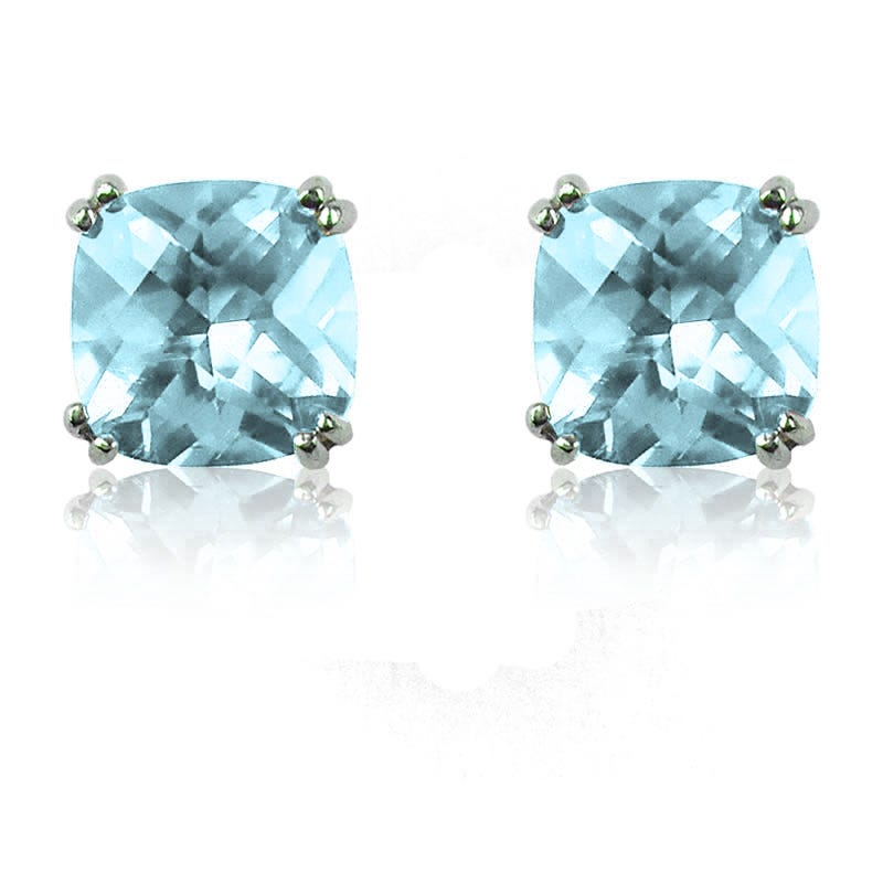 Aquamarine Cushion-Cut Stud Earrings in Sterling Silver