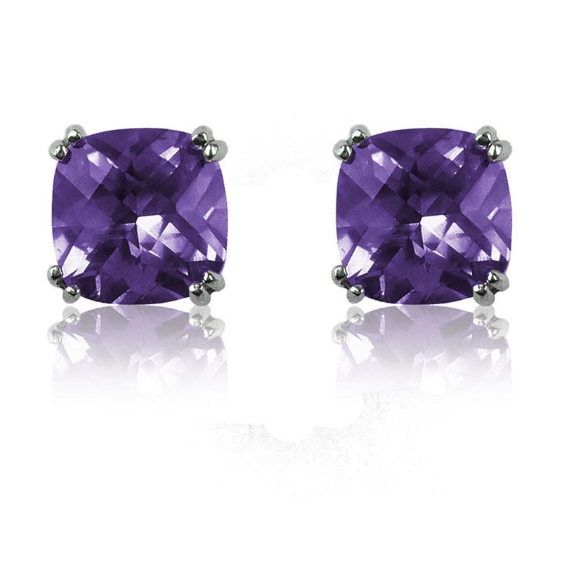 Created Alexandrite Cushion-Cut Stud Earrings in Sterling Silver