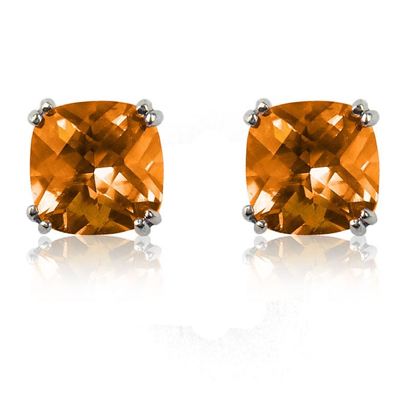 Citrine Cushion-Cut Stud Earrings in Sterling Silver