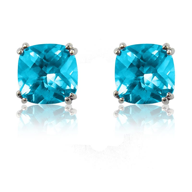 Blue Topaz Cushion-Cut Stud Earrings Sterling Silver