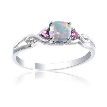 Created Opal, Created Pink Sapphire & Diamond Ring in Sterling Silver