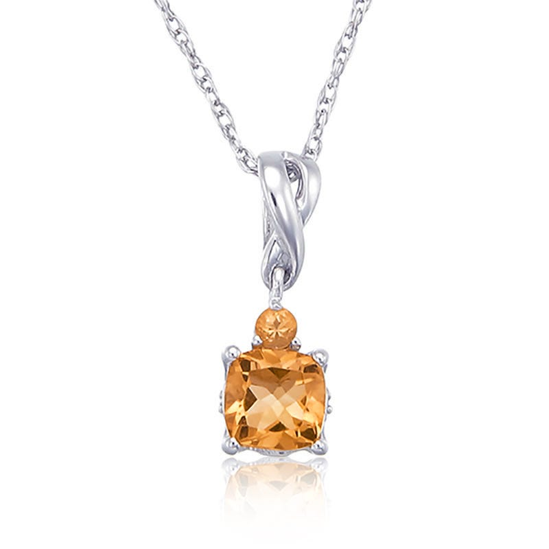 Citrine Cushion Cut & Diamond Pendant Sterling Silver