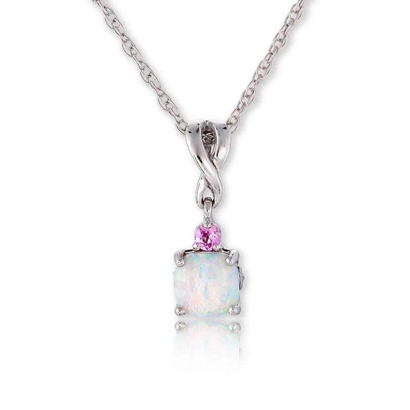 Created Opal, Created Pink Sapphire & Diamond Pendant