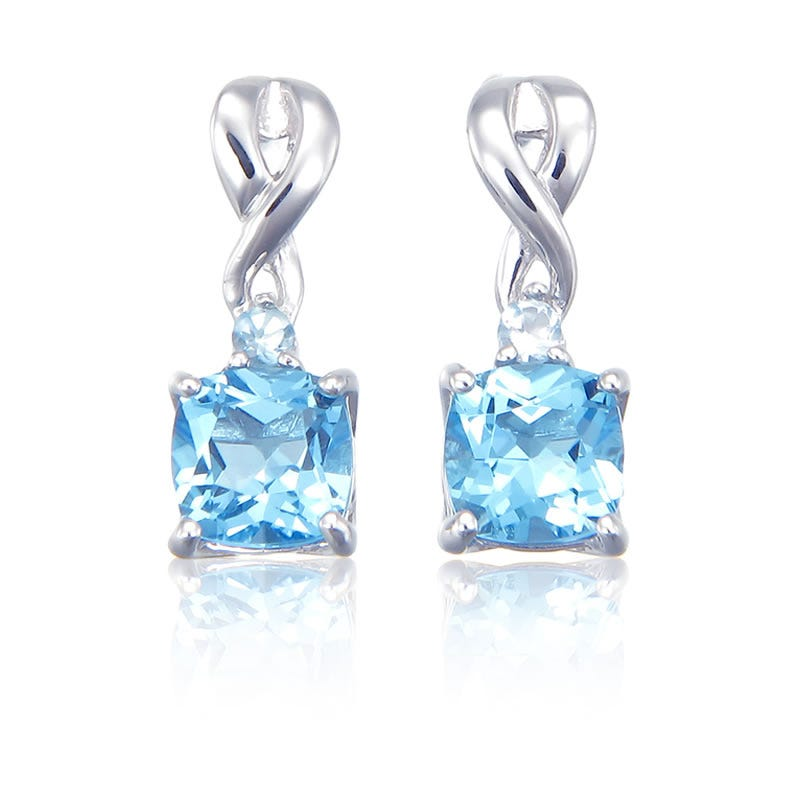 Blue Topaz Drop Twist Earrings in Sterling Silver