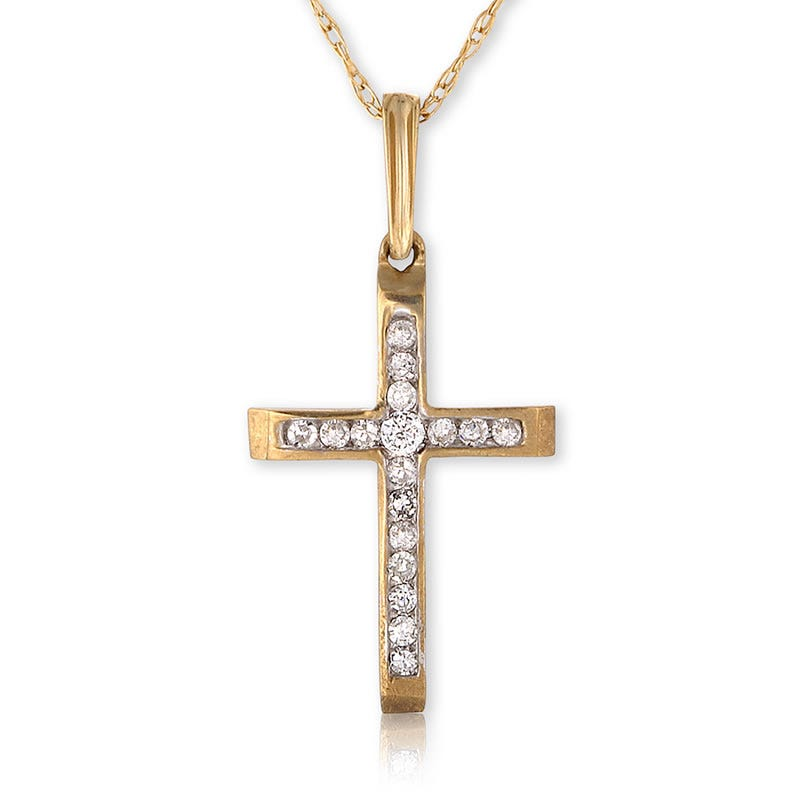 Yellow Gold Diamond Channel Cross