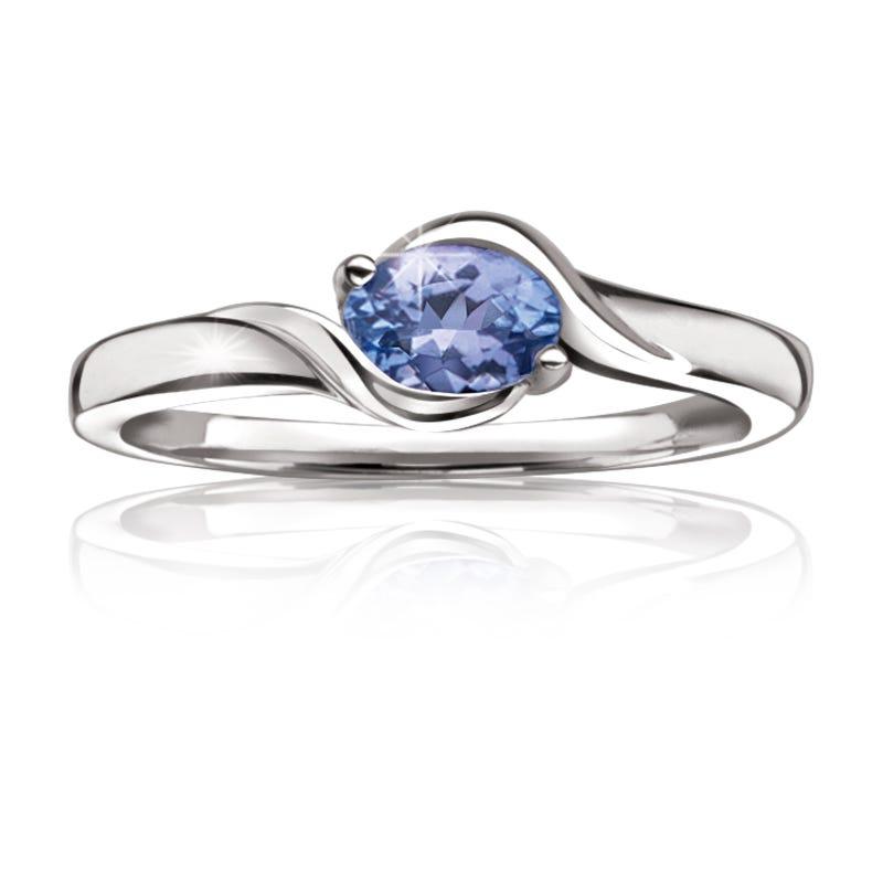 Genuine Oval Tanzanite Gemstone Ring
