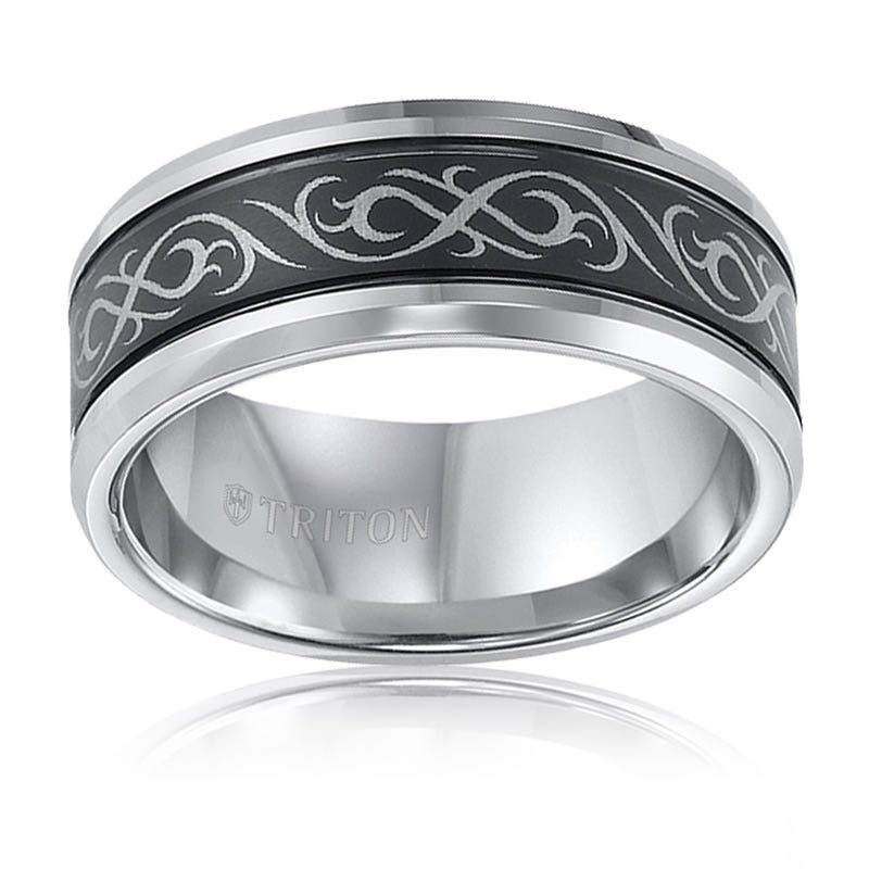 Triton Black & White Tungsten Tribal Wedding Band